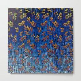 Royal blue and gold fall leaf pattern, modern,chic,Royal blue, gold ,fall leaf, pattern, modern,chic Metal Print