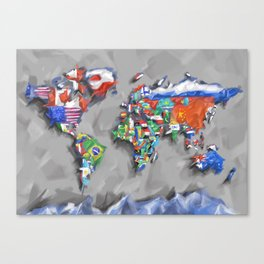 world map with flags Canvas Print