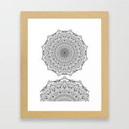 Lacy Flames Mandala in Black and White Framed Art Print