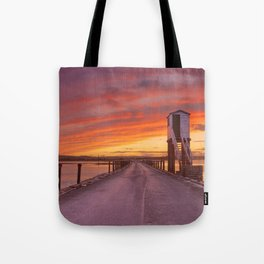 Holy Island of Lindisfarne, England causeway and refuge hut, sunset Tote Bag