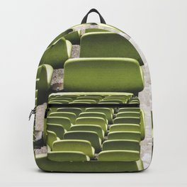 Rows of green seats at Munich Olympic Stadium in Mnchen Germany Backpack