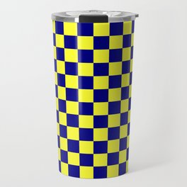 Electric Yellow and Navy Blue Checkerboard Travel Mug