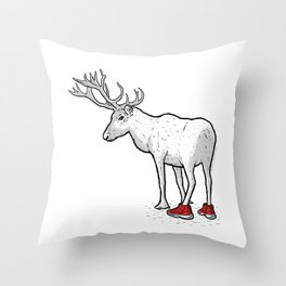Christmas Rudolph red shoes Reindeer Throw Pillow