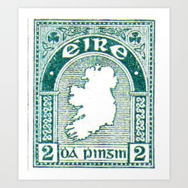 Ireland Postage Stamp Art Print