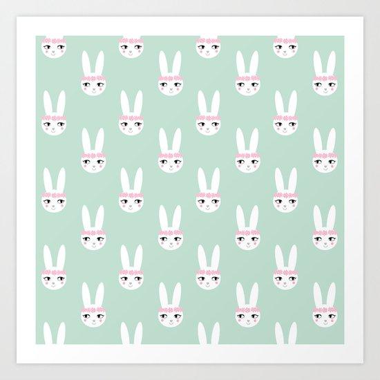 Bunny Rabbit mint spring cute character illustration nursery kids minimal floral crown Art Print