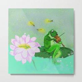 frog with violin Metal Print