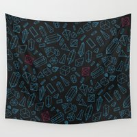 crystals Wall Tapestries featuring Crystals Pattern by pakowacz