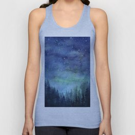 Watercolor Galaxy Nebula Northern Lights Painting Unisex Tank Top