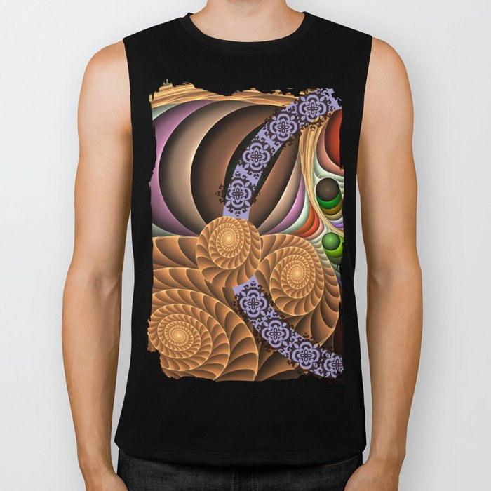 Pattern in motion, fractal geometric art Biker Tank