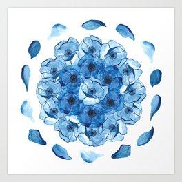 The Poppy blue petal Art Print