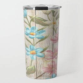 Faux Wood Country Floral Travel Mug