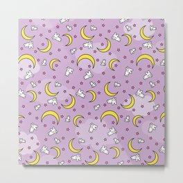 Sailor Moon Sheet Pattern - Bunnies, Stars, Moons Metal Print