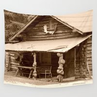 cabin Wall Tapestries featuring Old Log Cabin by Alaskan Momma Bear