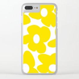 Large Yellow Retro Flowers on White Background #decor #society6 #buyart Clear iPhone Case