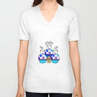polkadot V-neck T-shirts featuring Cute Monster With Blue And Purple Polkadot Cupcakes by Mydeas