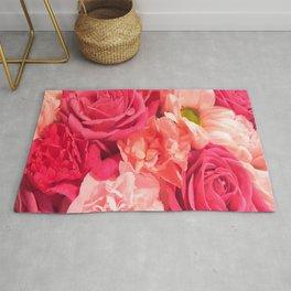 Romantic Pink Flowers Rug