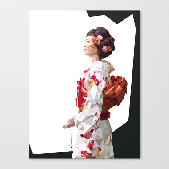Polygonal Kimono girl 2 Canvas Print