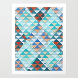Triangle Pattern No.10 Shifting Turquoise and Orange Art Print