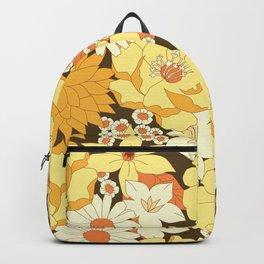 Yellow, Orange and Brown Vintage Floral Pattern Backpack