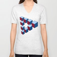 Geometry - Optical Illusion - Cubes in perspective - 3D - 3 focal points Unisex V-Neck