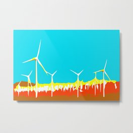 wind turbine in the desert with blue sky Metal Print