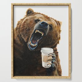 """ Grizzly Mornings "" give that bear some coffee Serving Tray"