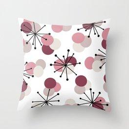 Atomic Age Molecules Starbursts Pink Throw Pillow
