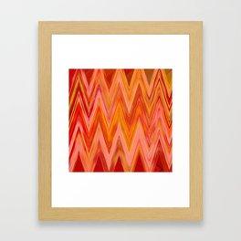 Coral geometric tribal aztec chevron zig zag stripes ikat pattern andes zigzag hipster print Framed Art Print
