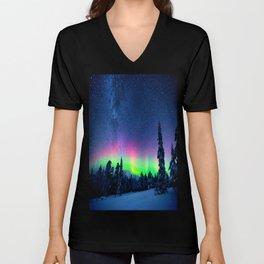 Aurora Borealis Over Wintry Mountains Unisex V-Neck