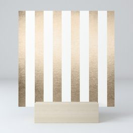 Simply Vertical Stripes in White Gold Sands Mini Art Print