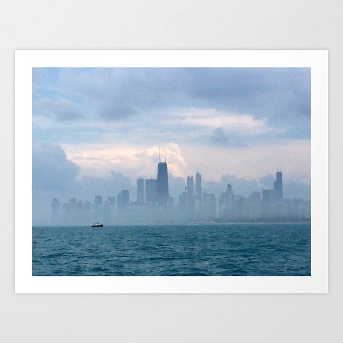 Foggy Skyline Blue & Grey #5 Art Print
