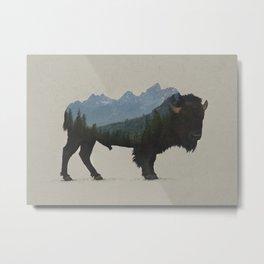 Grand Teton Bison Metal Print