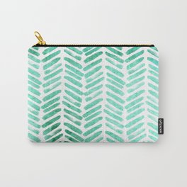 Handpainted Chevron pattern - light green and aqua - stripes #Society6 Carry-All Pouch