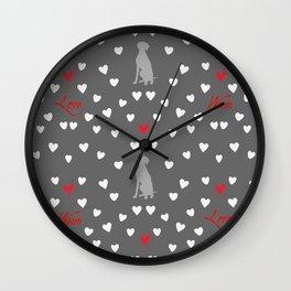 WEIMARANER HEARTS Wall Clock