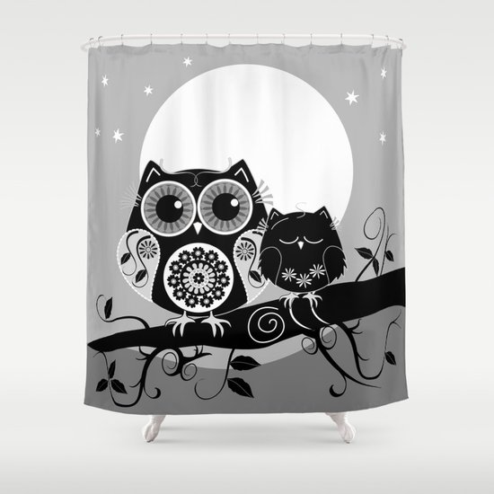 B&W Flower power Owl and her Sleepy Baby Shower Curtain