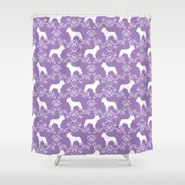 French Bulldog floral minimal purple and white pet silhouette frenchie pattern Shower Curtain