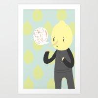 lemongrab Art Prints featuring ONLY ONE LEMONGRAB by stillosas