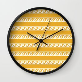 Orange and white Greek wave ornament pattern Wall Clock