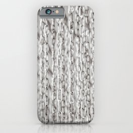 A Veil Of Hanging Metal Chains In Black And White iPhone Case