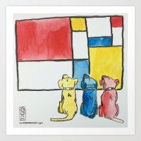 mondrian Art Prints featuring Mondrian by Unbearable Art