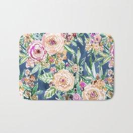 Navy MAUI MINDSET Colorful Tropical Floral Bath Mat