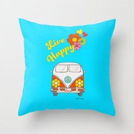 Live Happy Van Throw Pillow
