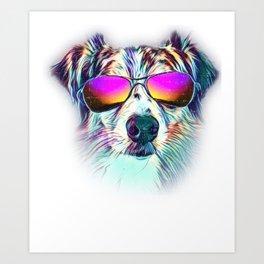Australian Shepherd Colorful Neon Dog Sunglasses Art Print