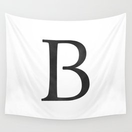 Letter B Initial Monogram Black and White Wall Tapestry