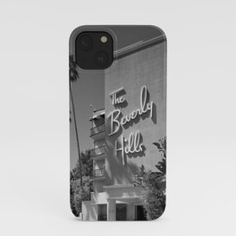 Beverly Hills Hotel, California black and white photograph / black and white photography iPhone Case