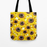 sunflowers Tote Bags featuring Sunflowers by Regan's World