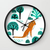 jaguar Wall Clocks featuring  Jaguar by Hui_Yuan-Chang