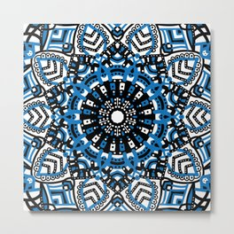 Blue mandala flowers Metal Print