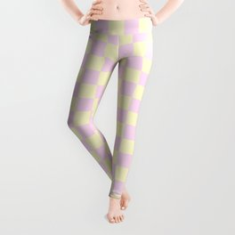 Cream Yellow and Pink Lace Checkerboard Leggings
