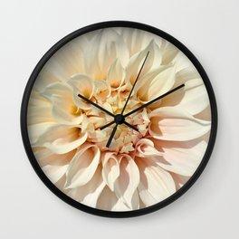Dahlia white macro 043 Wall Clock